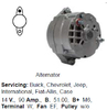 Lichtmaschine Buick, Chevrolet, Jeep, International, Fiat-Allis, Case